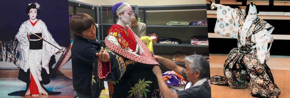 Japanese kabuki actors in makeup – kabuki theatre